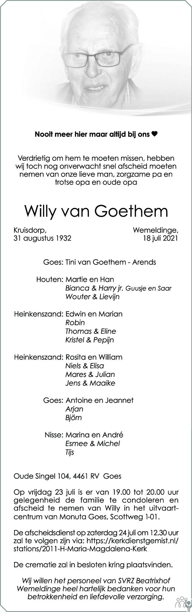 Overlijdensbericht van Willy van Goethem in PZC Provinciale Zeeuwse Courant