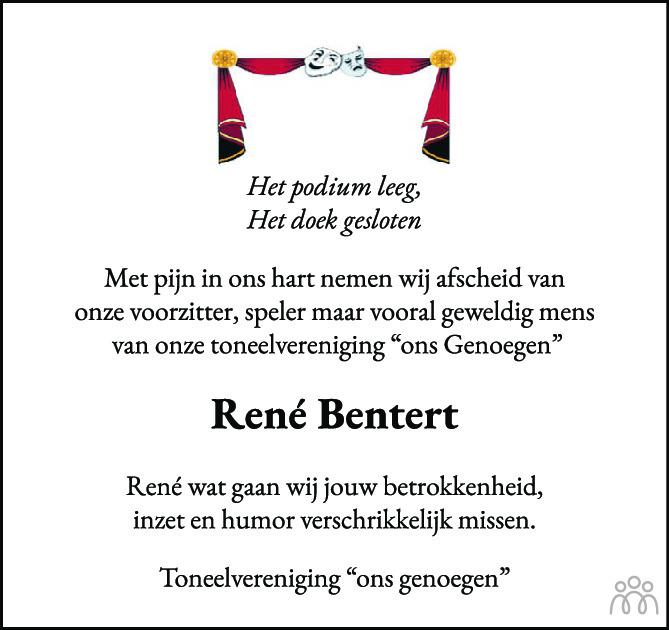 Overlijdensbericht van René Bentert in Tubantia