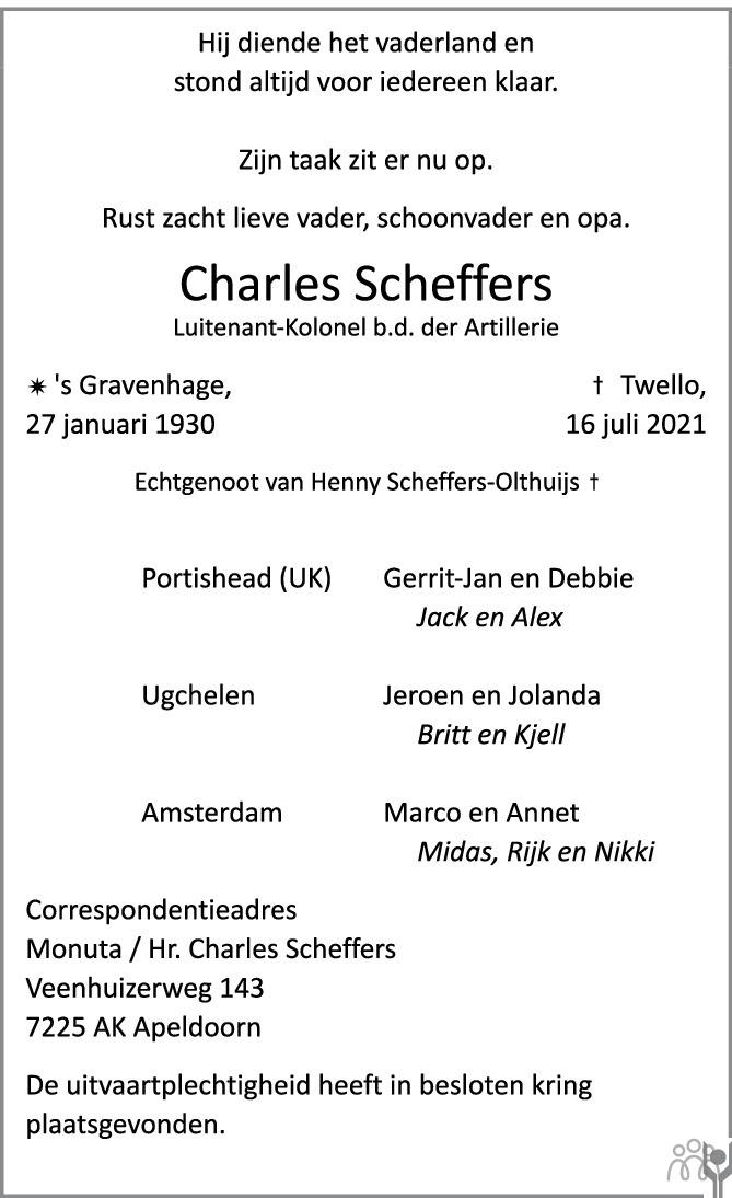 Overlijdensbericht van Charles Scheffers in de Stentor