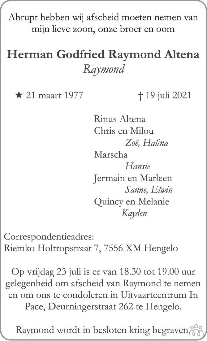 Overlijdensbericht van Herman Godfried Raymond Altena in Tubantia