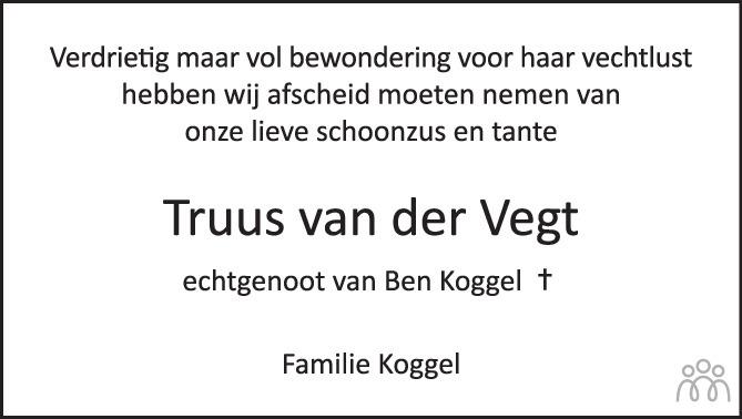 Overlijdensbericht van Truus (Geertruida Hendrika) Koggel-van der Vegt in de Stentor