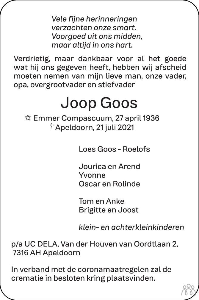 Overlijdensbericht van Joop Goos in de Stentor
