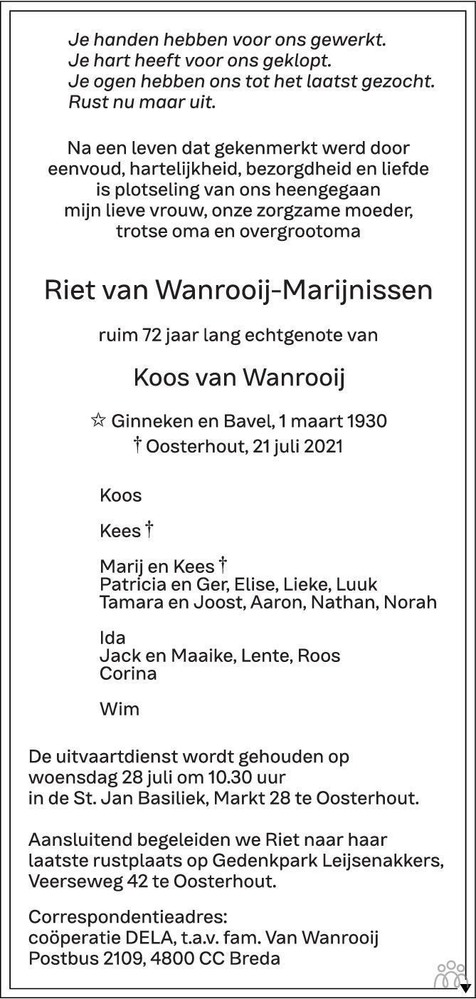 Overlijdensbericht van Riet van Wanrooij-Marijnissen in BN DeStem