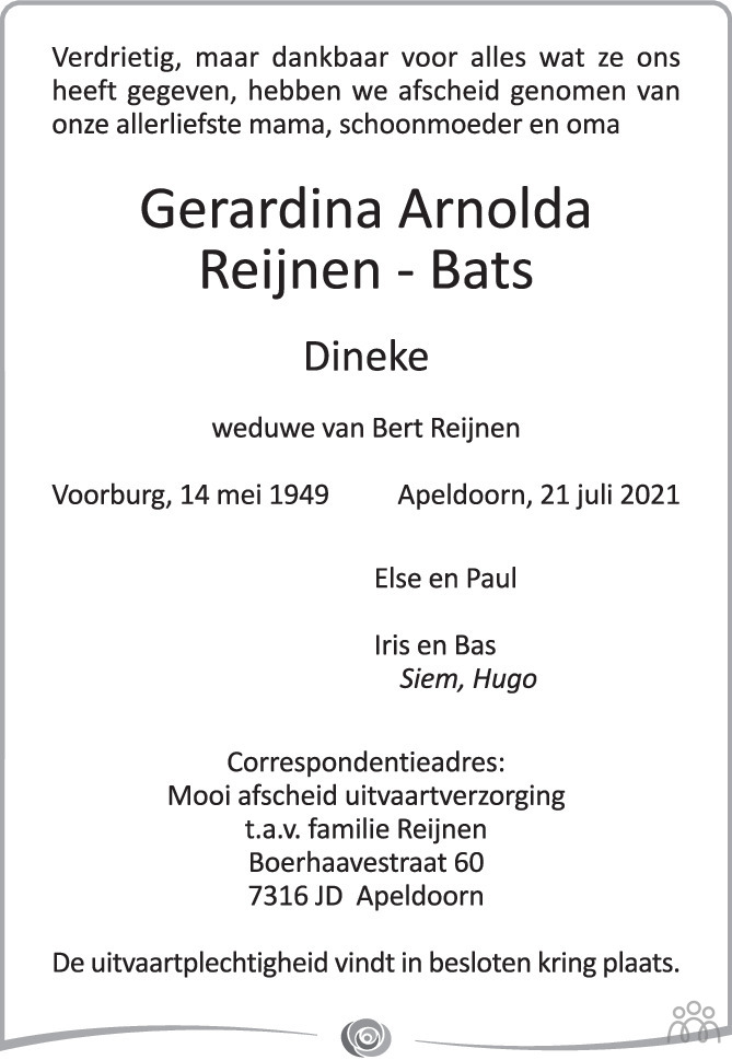 Overlijdensbericht van Gerardina (Dineke) Arnolda Reijnen-Bats in de Stentor