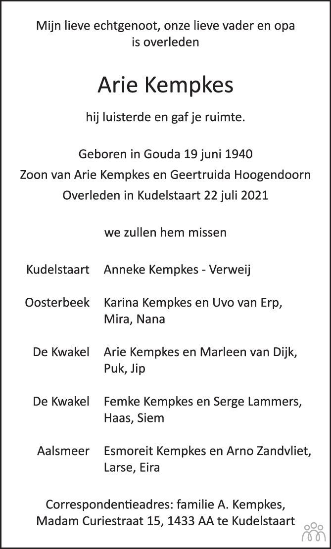 Overlijdensbericht van Arie Kempkes in Trouw
