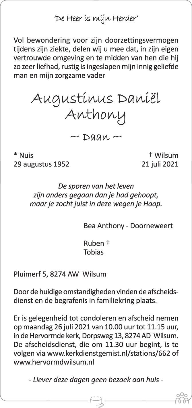 Overlijdensbericht van Augustinus Daniël (Daan) Anthony in de Stentor