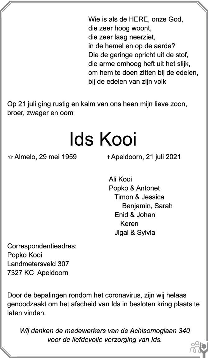 Overlijdensbericht van Ids Kooi in de Stentor