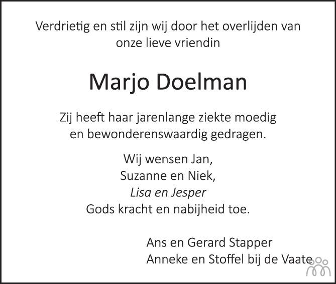 Overlijdensbericht van Marjo (Maaike) Doelman-van Engelen in PZC Provinciale Zeeuwse Courant