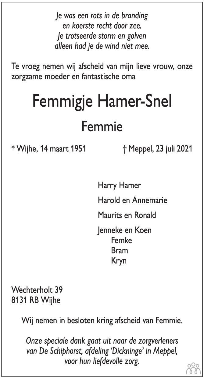 Overlijdensbericht van Femmigje (Femmie) Hamer-Snel in de Stentor
