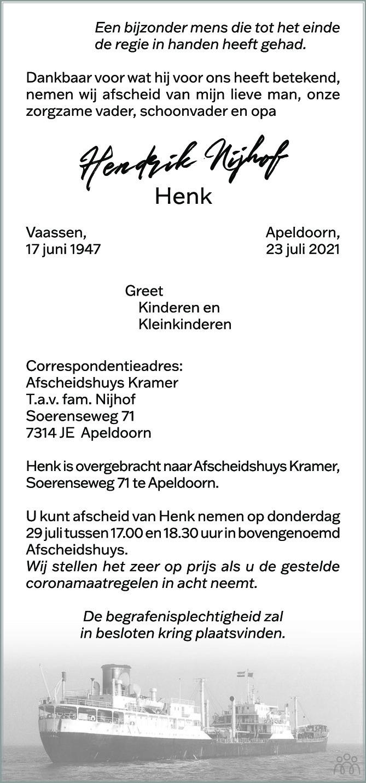 Overlijdensbericht van Hendrik (Henk) Nijhof in de Stentor