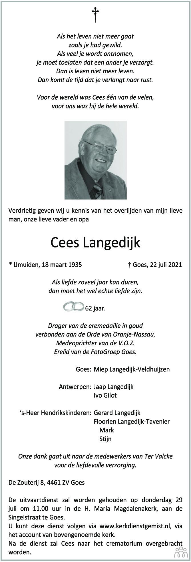 Overlijdensbericht van Cees Langedijk in PZC Provinciale Zeeuwse Courant