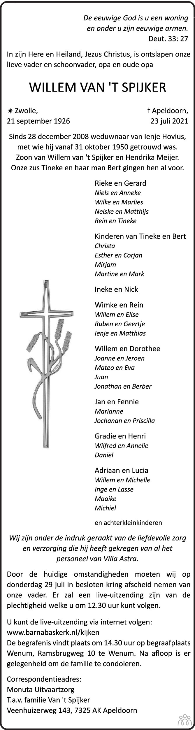 Overlijdensbericht van Willem van 't Spijker in Trouw