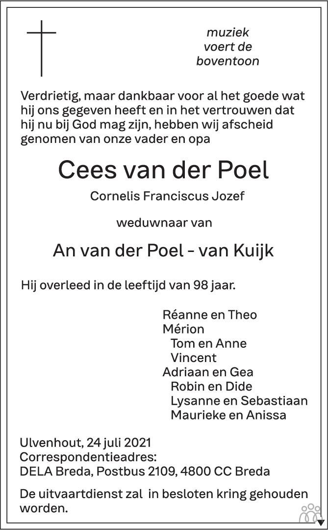 Overlijdensbericht van Cees (Cornelis Franciscus Jozef) van der Poel in BN DeStem