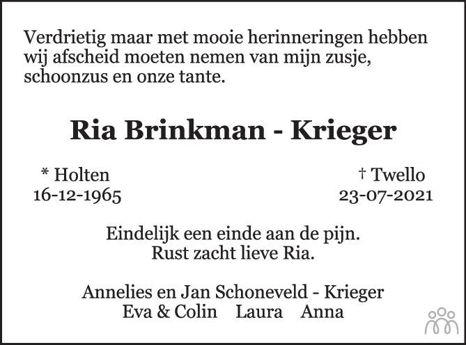 Overlijdensbericht van Ria Brinkman-Krieger in de Stentor