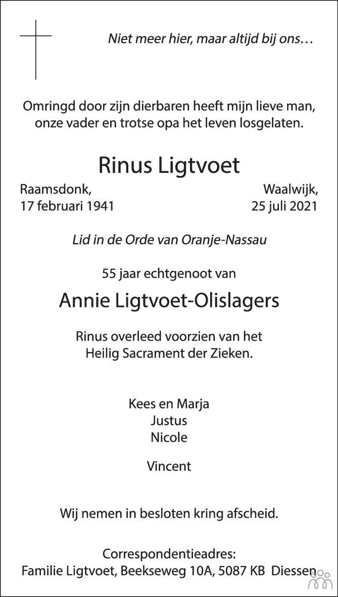 Overlijdensbericht van Rinus Ligtvoet in Brabants Dagblad