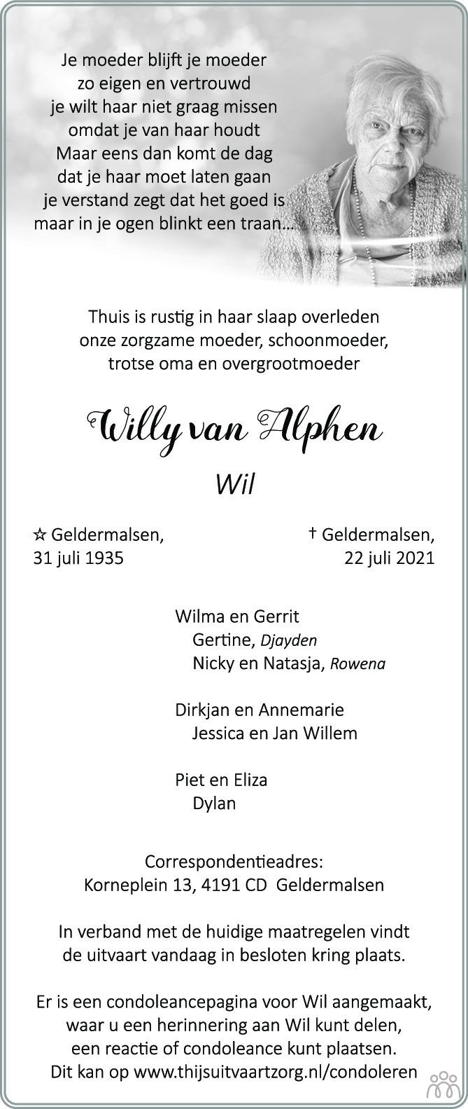 Overlijdensbericht van Willy (Wil) van Alphen in Zakengids Combinatie