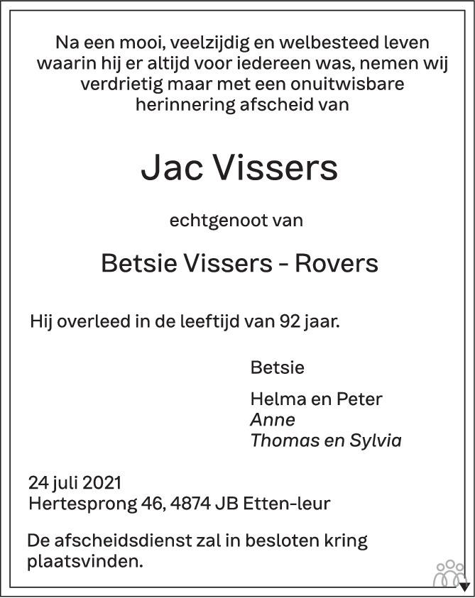 Overlijdensbericht van Jac Vissers in BN DeStem