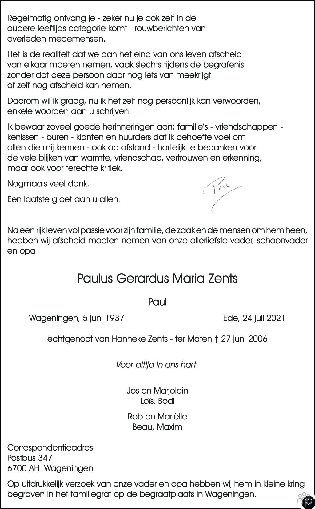 Overlijdensbericht van Paulus Gerardus Maria (Paul) Zents in Wageningen / Bennekom / Renkum Cominatie