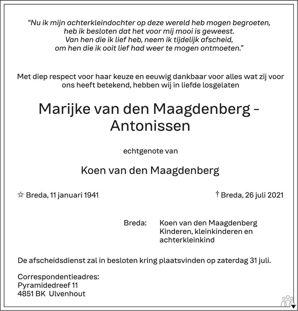 Overlijdensbericht van Marijke van den Maagdenberg-Antonissen in BN DeStem
