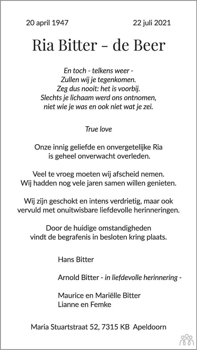 Overlijdensbericht van Ria Bitter-de Beer in de Stentor
