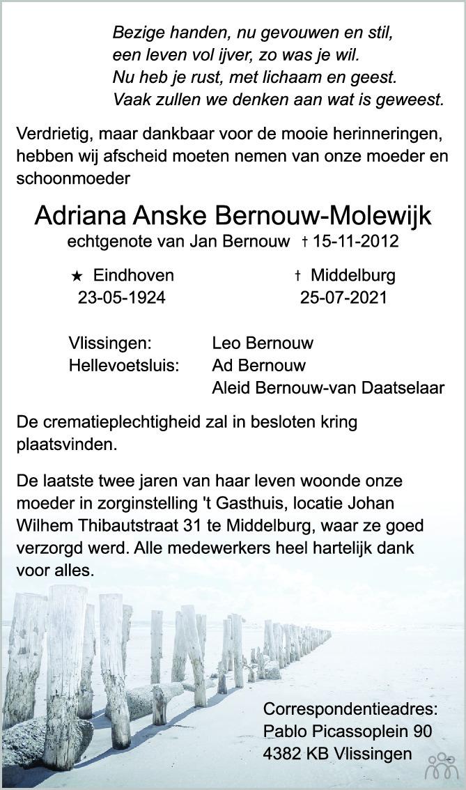 Overlijdensbericht van Adriana Anske Bernouw-Molewijk in PZC Provinciale Zeeuwse Courant