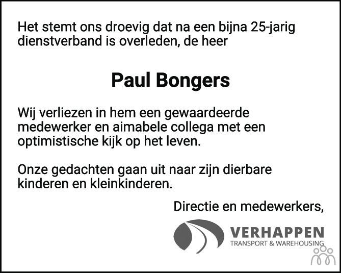 Overlijdensbericht van Paul Bongers in Eindhovens Dagblad