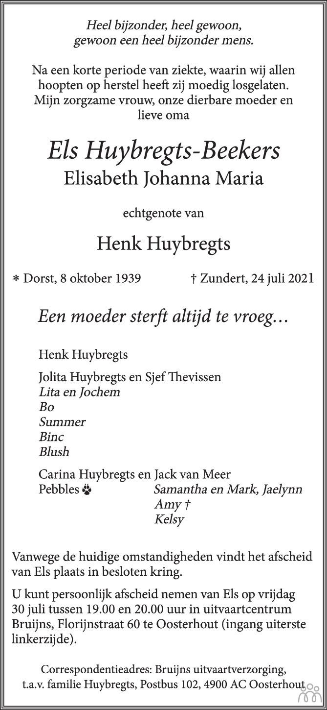 Overlijdensbericht van Els (Elisabeth Johanna Maria) Huybregts-Beekers in BN DeStem