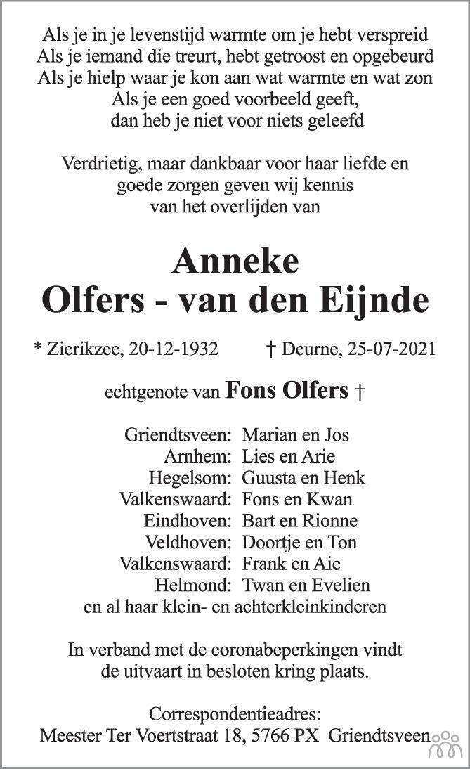 Overlijdensbericht van Anneke Olfers-van den Eijnde in Eindhovens Dagblad
