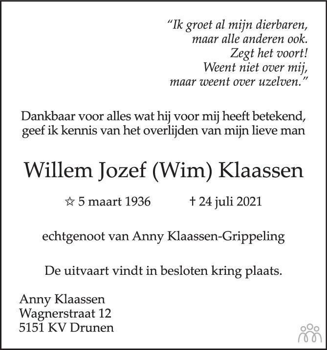 Overlijdensbericht van Willem Jozef (Wim) Klaassen in Brabants Dagblad