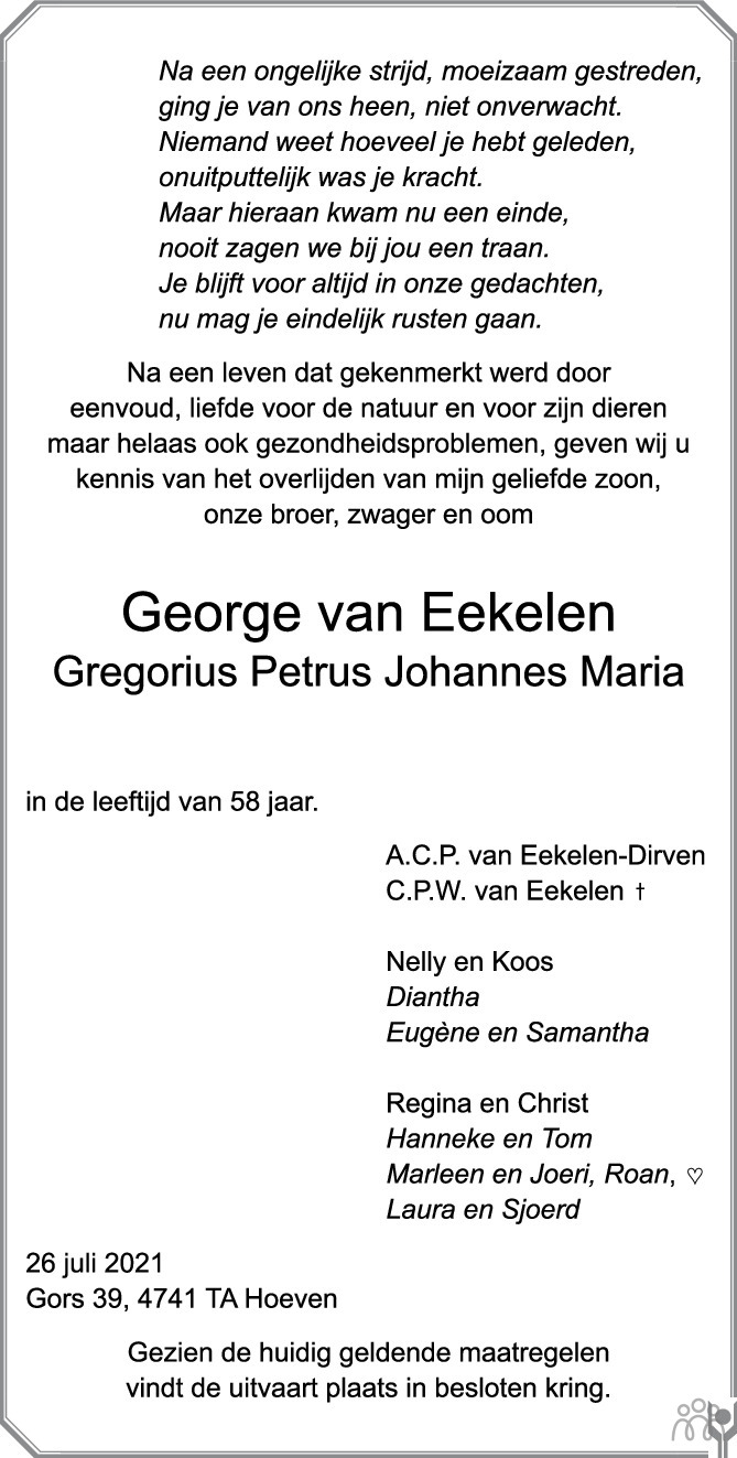 Overlijdensbericht van George (Gregorius Petrus Johannes Maria) van Eekelen in BN DeStem