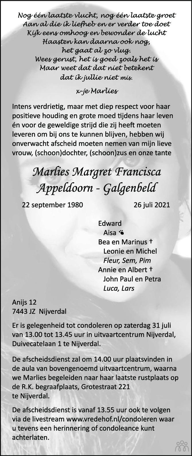 Overlijdensbericht van Marlies Margret Francisca Appeldoorn-Galgenbeld in Tubantia