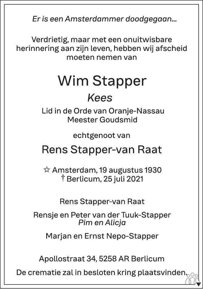 Overlijdensbericht van Wim (Kees) Stapper in Brabants Dagblad