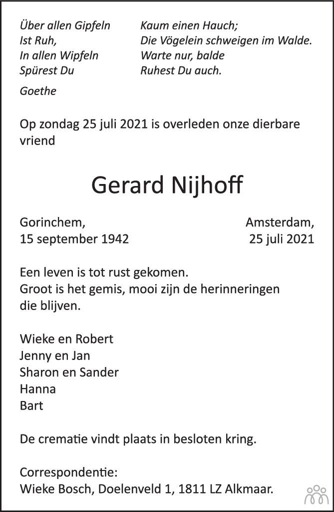 Overlijdensbericht van Gerard Nijhoff in Het Parool