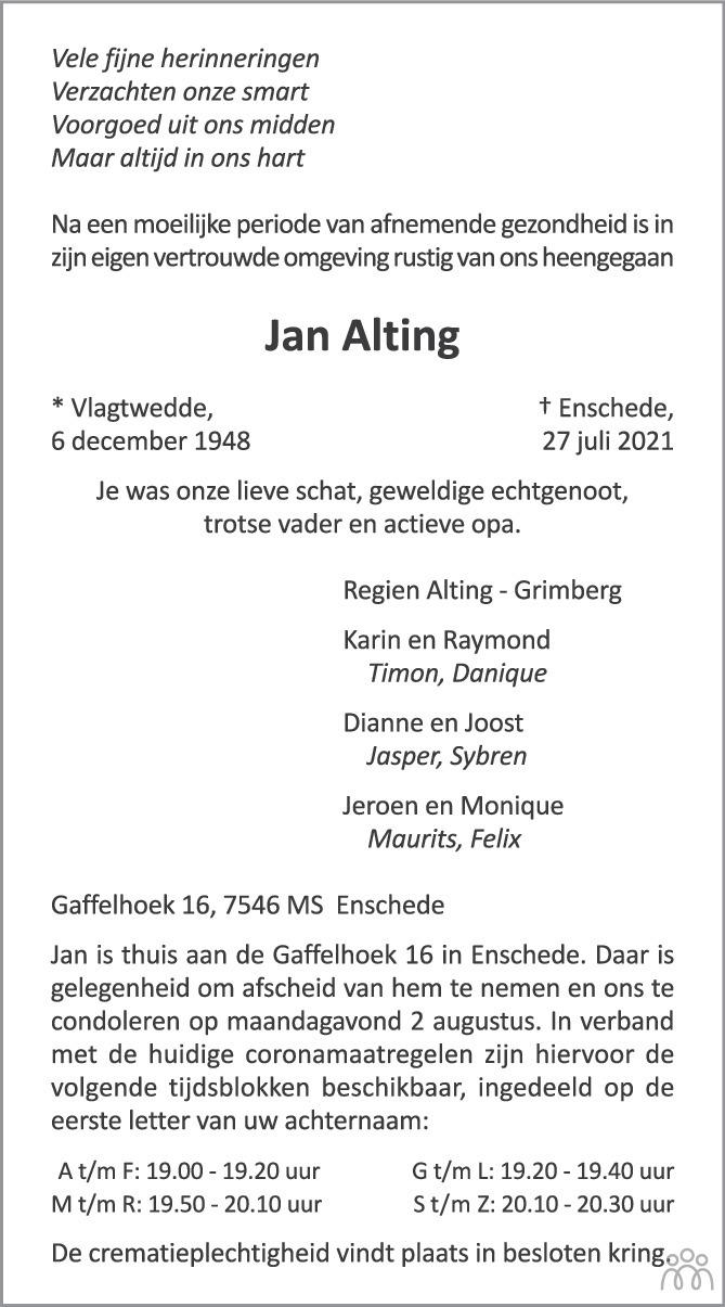 Overlijdensbericht van Jan Alting in Tubantia