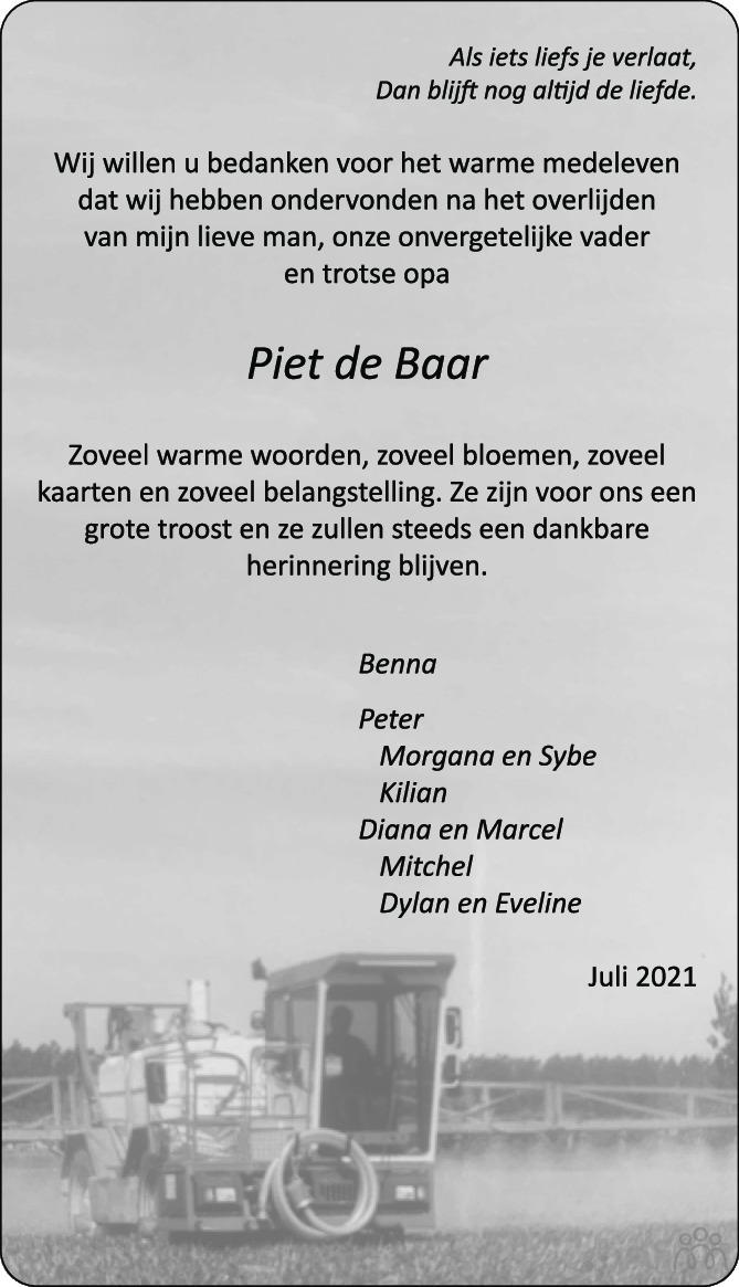 Overlijdensbericht van Petrus Mattheus (Piet) de Baar in PZC Provinciale Zeeuwse Courant