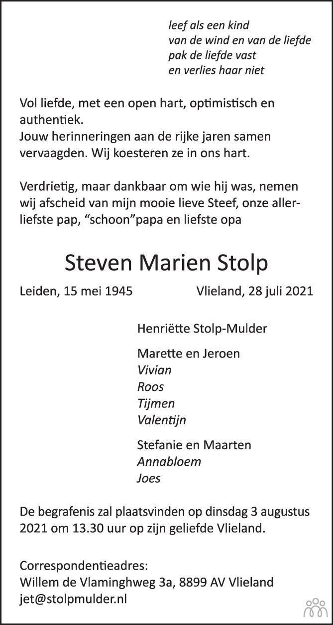 Overlijdensbericht van Steven Marien Stolp in Trouw