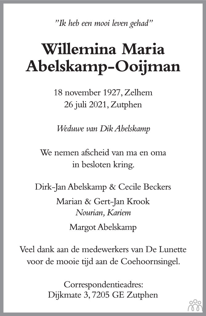 Overlijdensbericht van Willemina Maria Abelskamp-Ooijman in de Stentor