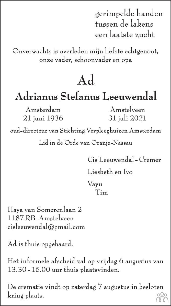 Overlijdensbericht van Ad (Adrianus Stefanus) Leeuwendal in de Volkskrant