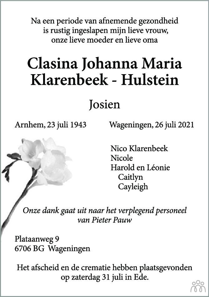 Overlijdensbericht van Clasina Johanna Maria (Josien) Klarenbeek-Hulstein in Wageningen / Bennekom / Renkum Cominatie
