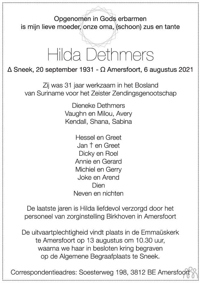 Overlijdensbericht van Hilda Dethmers in Trouw