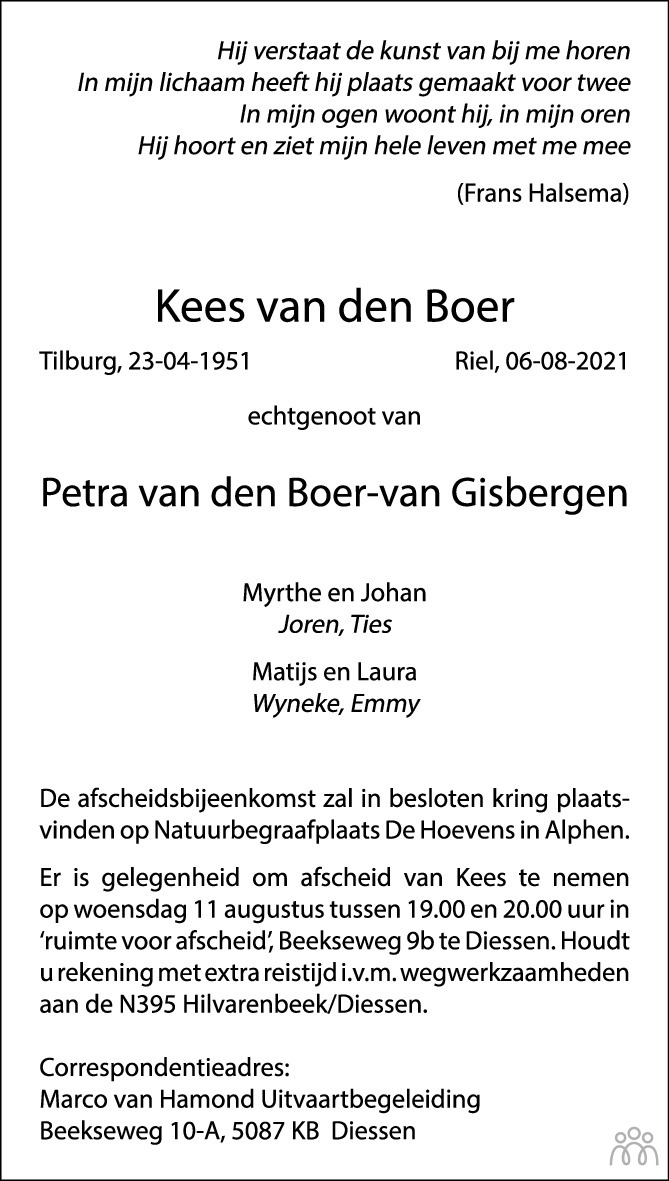 Overlijdensbericht van Kees van den Boer in Brabants Dagblad