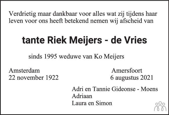 Overlijdensbericht van Riek Meijers-de Vries in PZC Provinciale Zeeuwse Courant