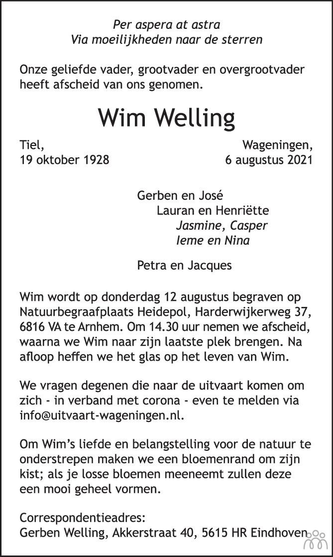 Overlijdensbericht van Wim Welling in Wageningen / Bennekom / Renkum Cominatie