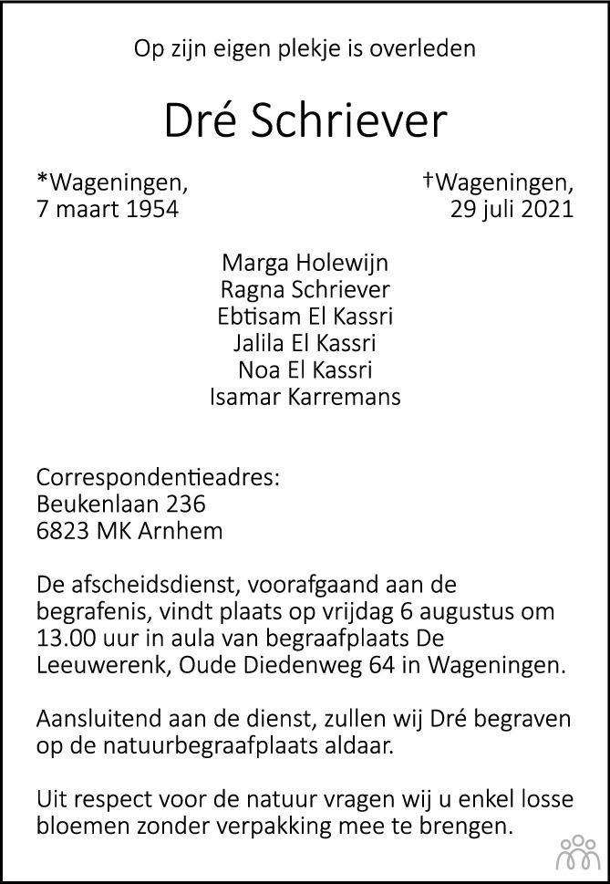 Overlijdensbericht van Dré Schriever in de Gelderlander