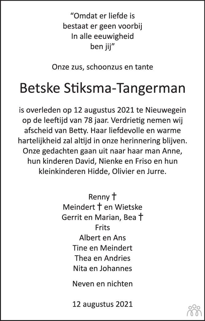Overlijdensbericht van Betske Stiksma-Tangerman in Trouw