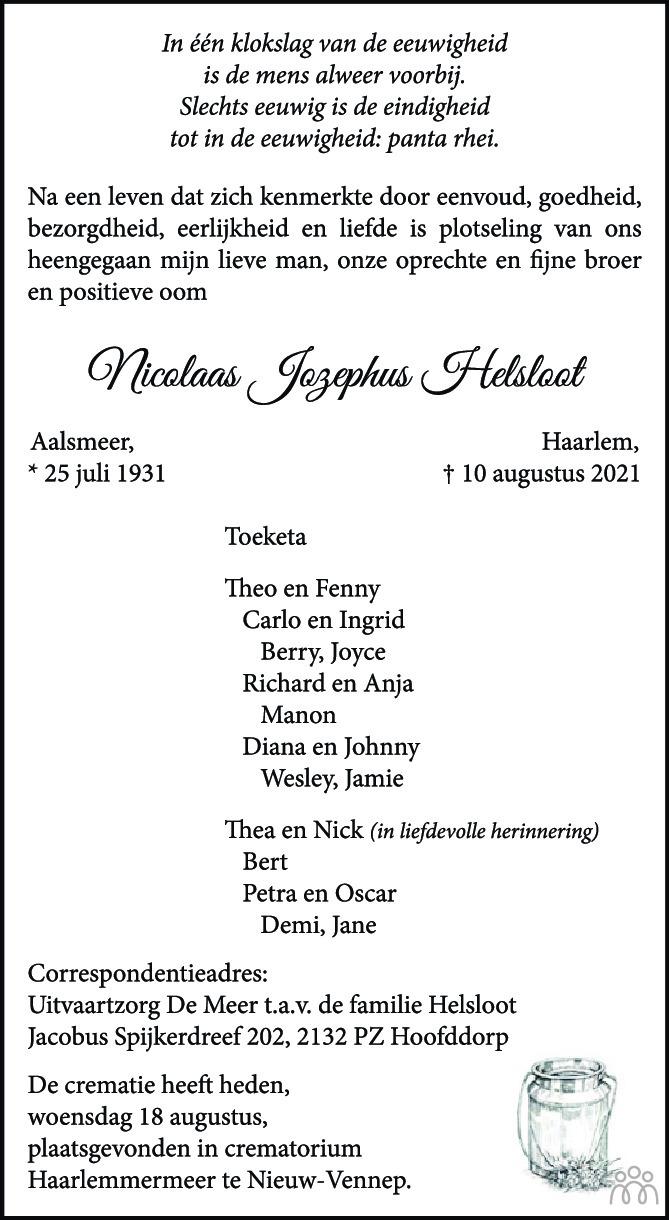 Overlijdensbericht van Nicolaas Jozephus Helsloot in PZC Provinciale Zeeuwse Courant