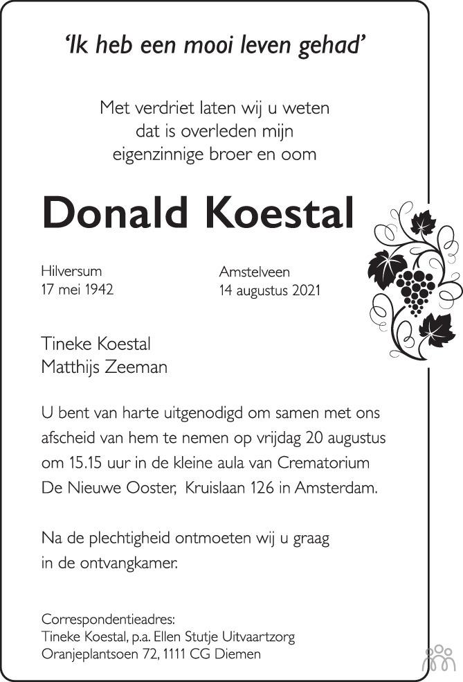 Overlijdensbericht van Donald Koestal in de Volkskrant
