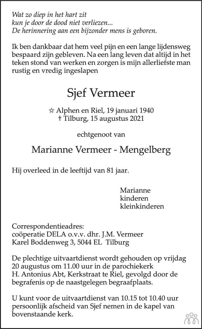 Overlijdensbericht van Sjef Vermeer in Brabants Dagblad