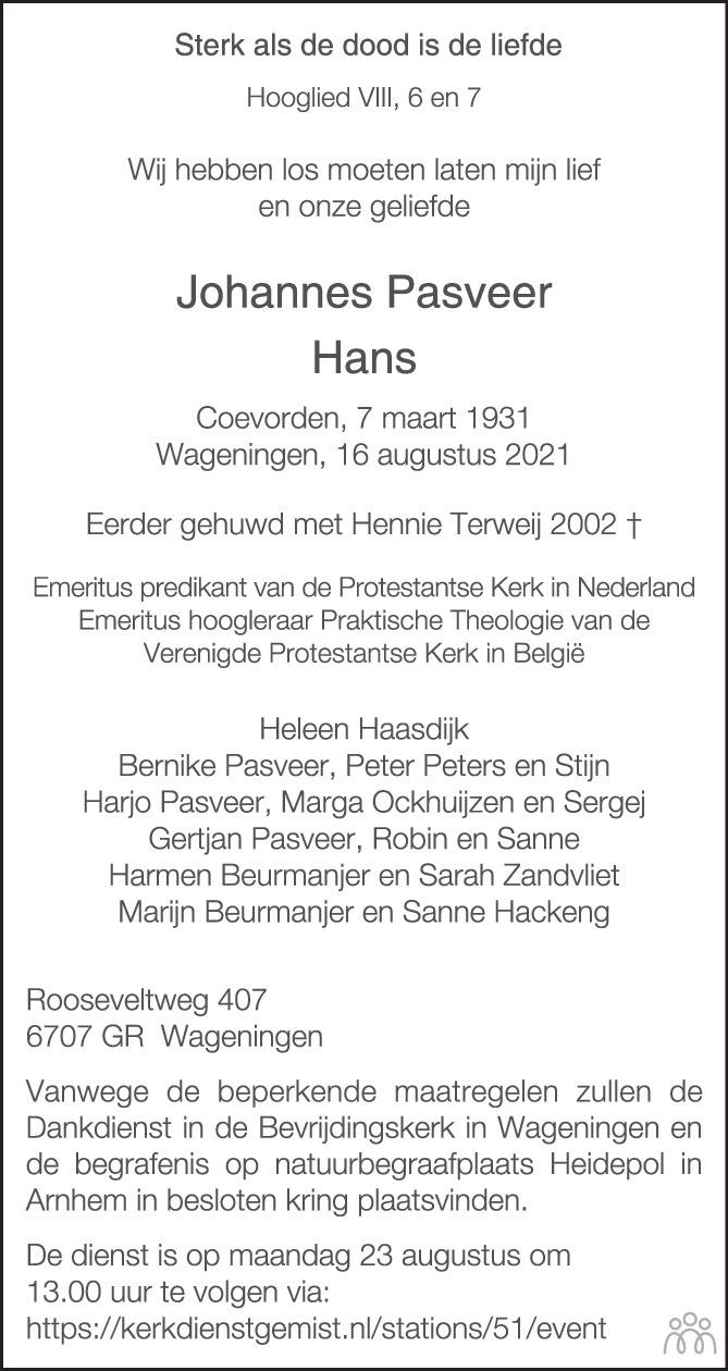 Overlijdensbericht van Johannes (Hans) Pasveer in Trouw