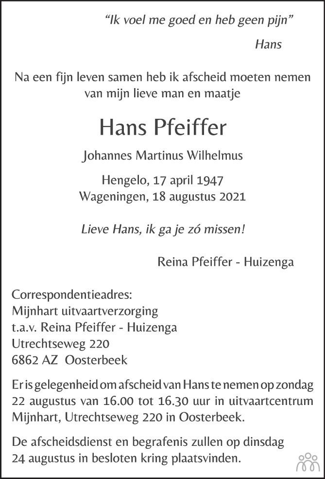 Overlijdensbericht van Hans Pfeiffer in Tubantia